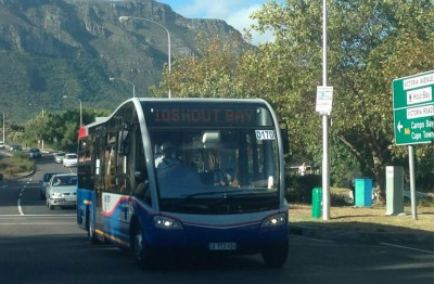 A MyCiTi bus heading for Hout Bay harbor and Seal Snorkeling